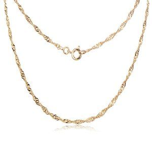 24K Yellow Gold Filled Water Wave Chain Necklace